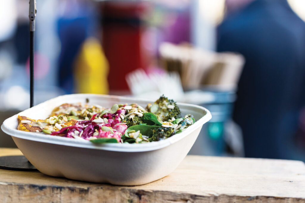 Salad in a takeaway container