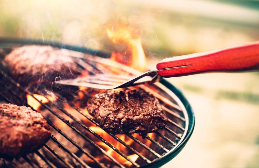 Meat grilling on a barbecue