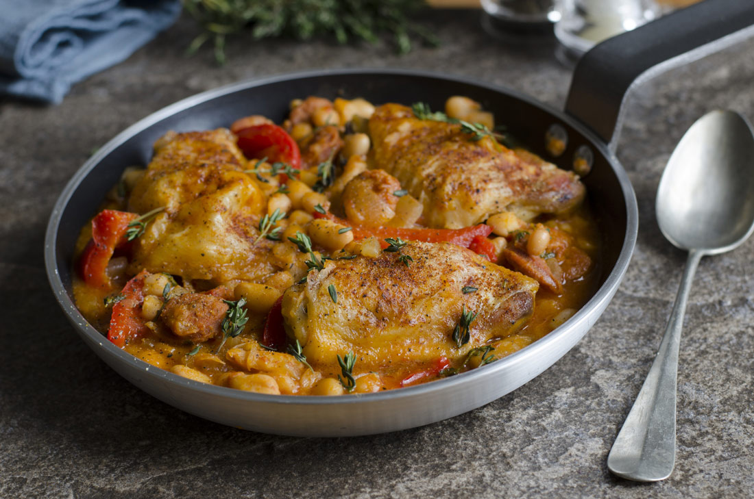 Barbecue baked bean and chicken cassoulet