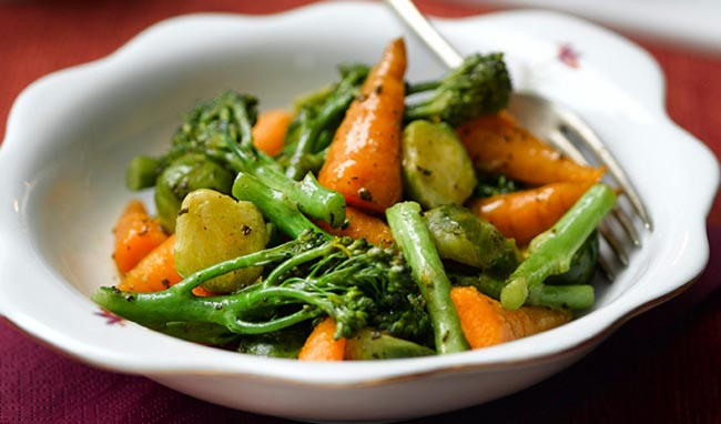 Broccoli, carrot and brussel sprouts