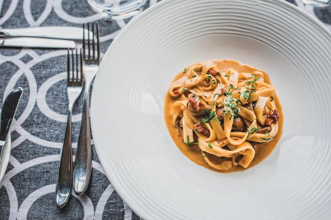 Chestnut mushroom tagliatelle at St Enodoc Hotel in Rock, Cornwall