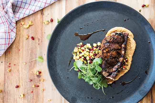 Harissa marinated barnsley chop