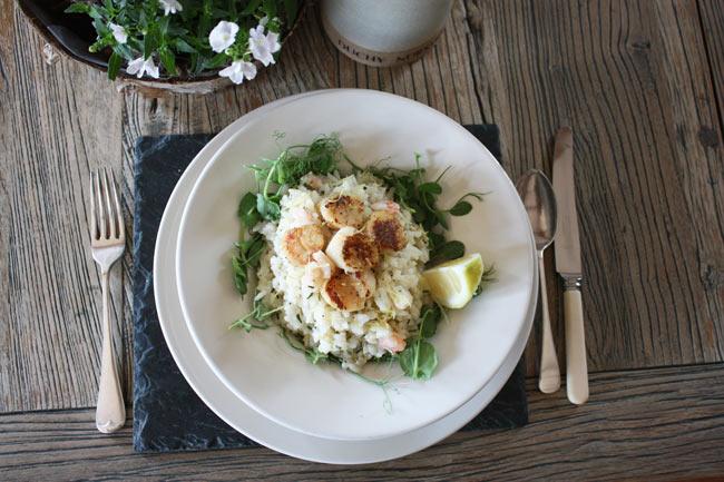 Seared scallops with prawn risotto