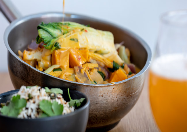 Sweet potato, cauliflower and coconut curry