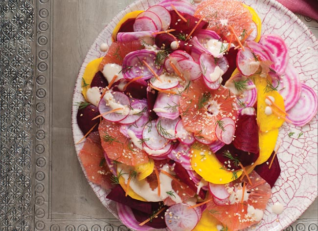 Bethany Kehdy's shaved beetroot, radish and grapefruit salad recipe (photography by Sarka Babicka)