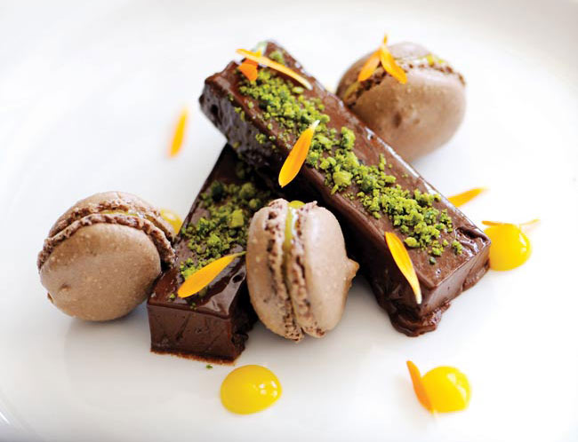 Chocolate dessert with macaroons at The Scarlet, Mawgan Porth