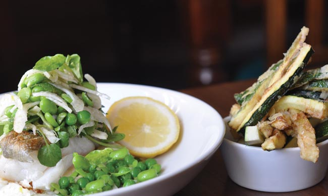 Cod and courgette shoestring fries recipe from The Halsetown Inn