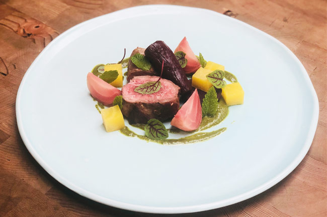 Lamb with beetroot and salsa verde