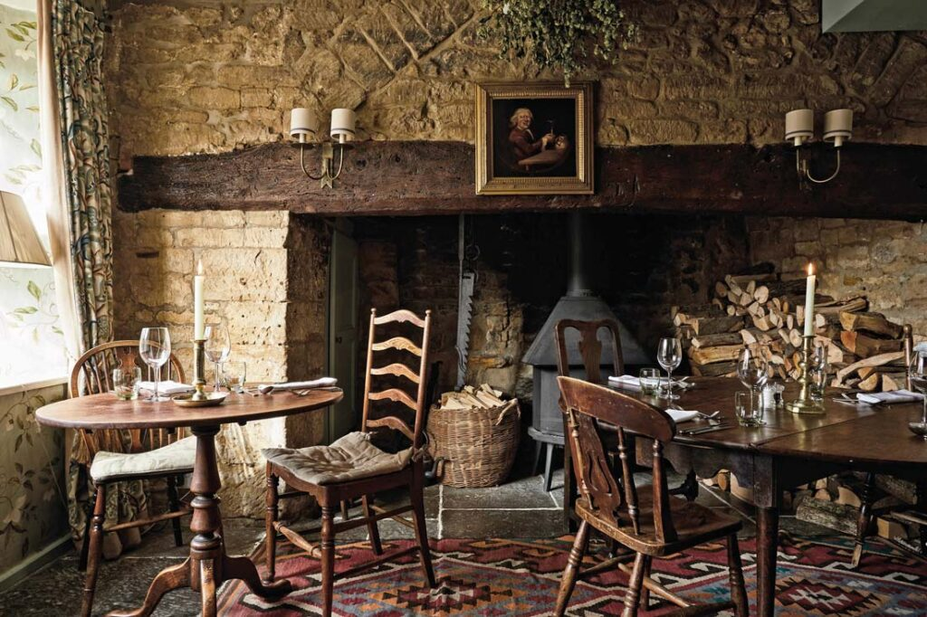 Dining room at Lord Poulett Arms pub with rooms