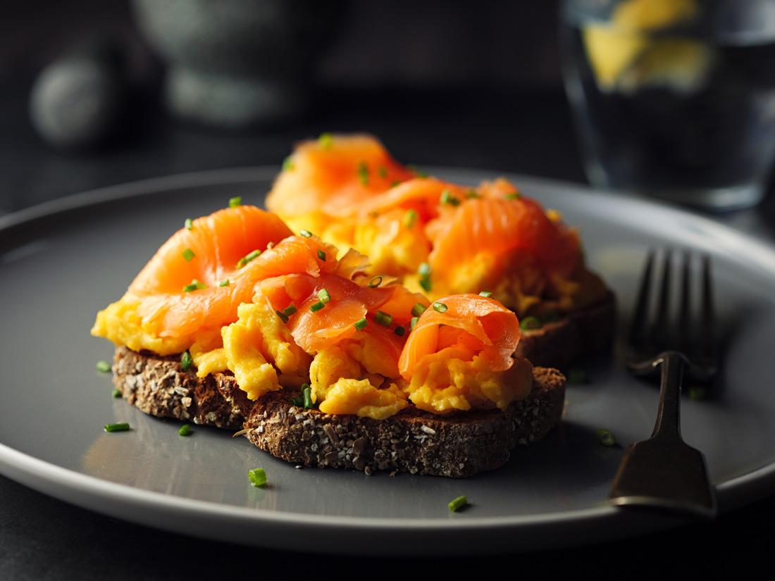 Devon smoked salmon with scrambled eggs