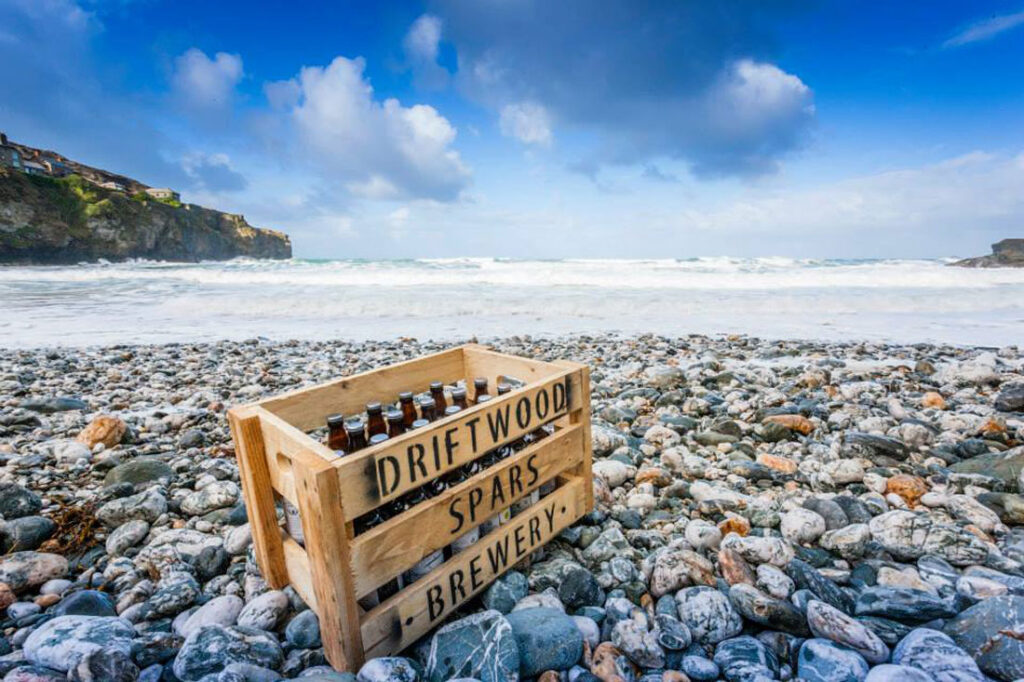Driftwood Spars Brewery box on beach