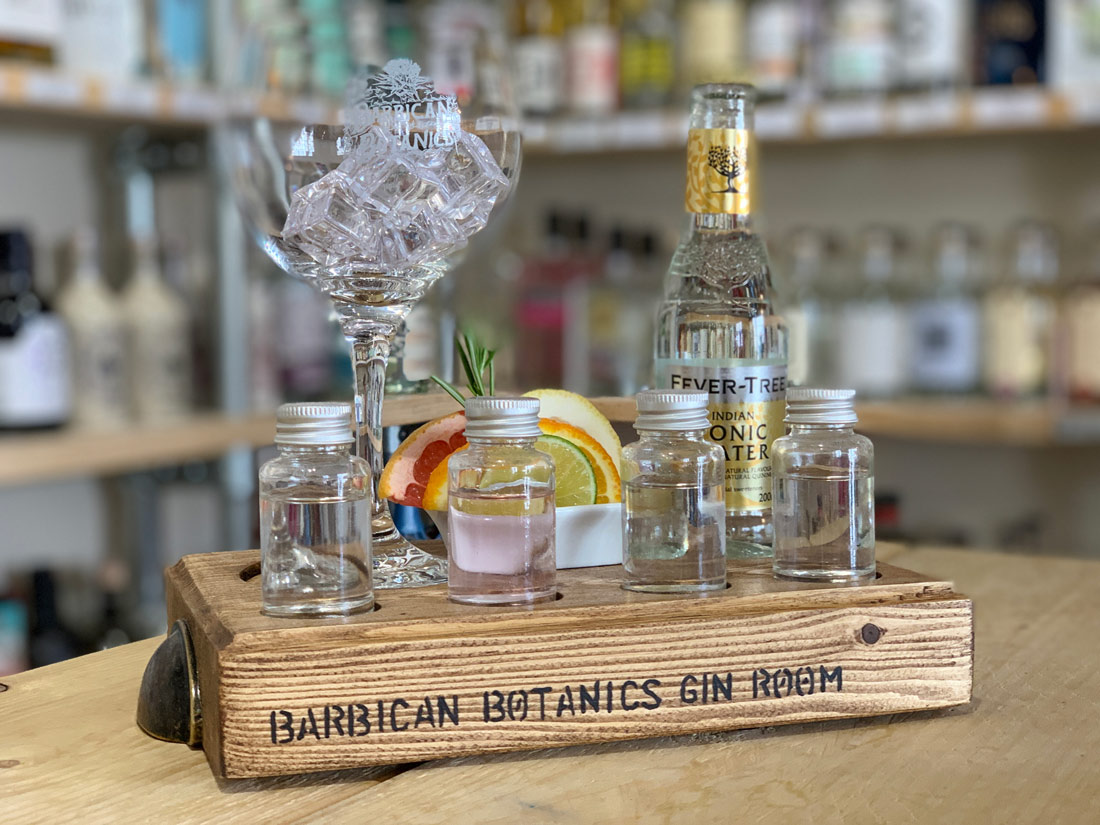 Tray of drinks at Barbican Botanics Gin Room in Plymouth