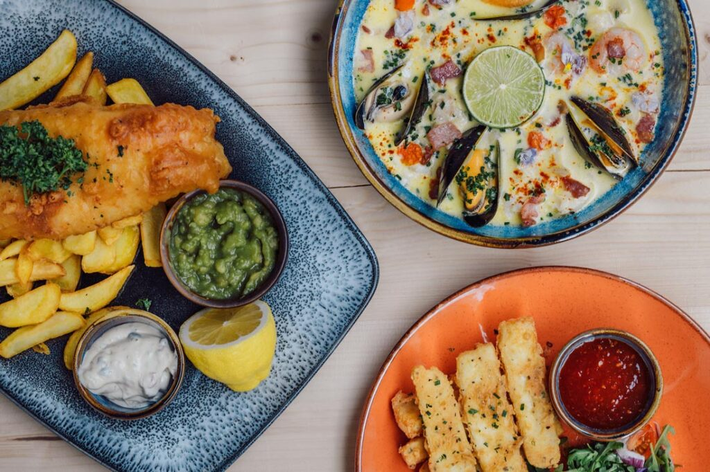 Seafood dishes at Hook & Line cafe and bar in Plymouth