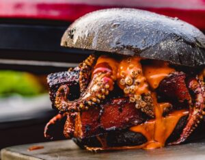 Spicy belly pork squid burger