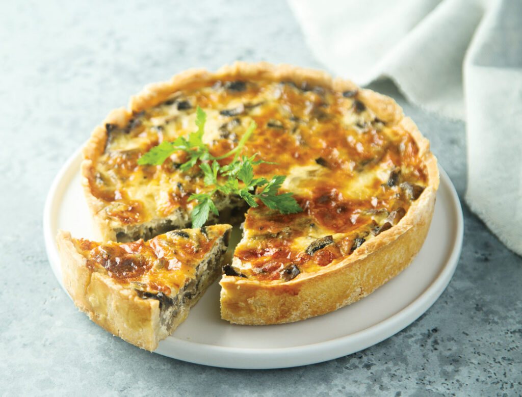 Mussel and sea spinach tart