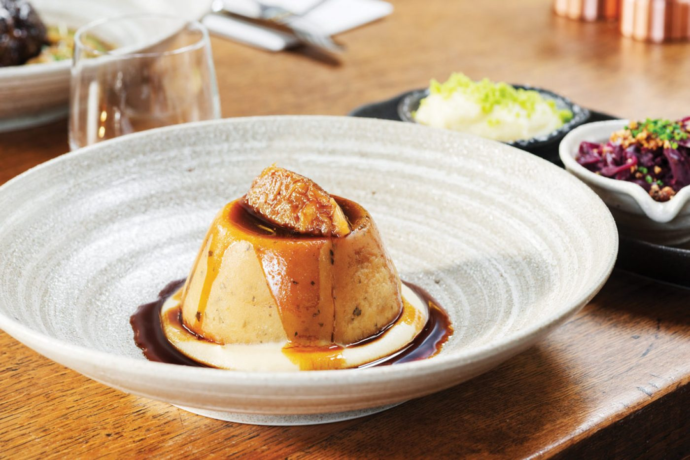 enison and ox cheek suet pudding